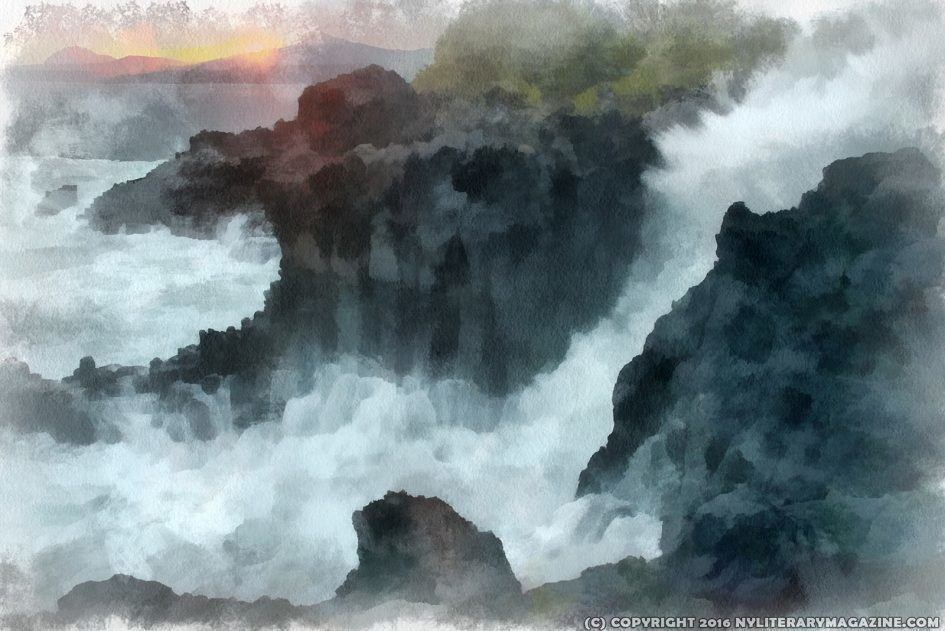 Cliff by Wild Ocean Painting