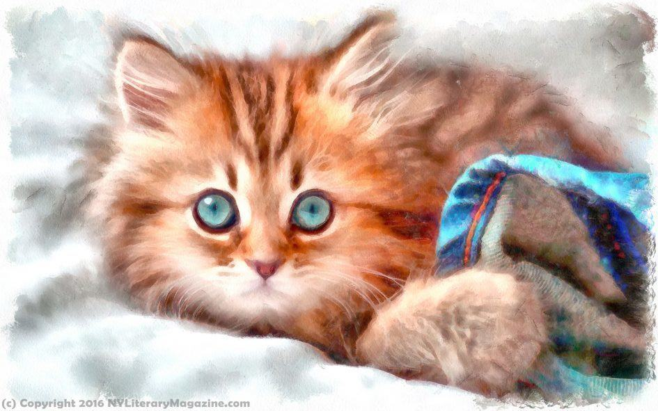 Cute Kitten Painting WaterColor
