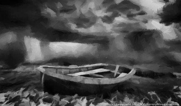 Boat in Storm Dark Painting