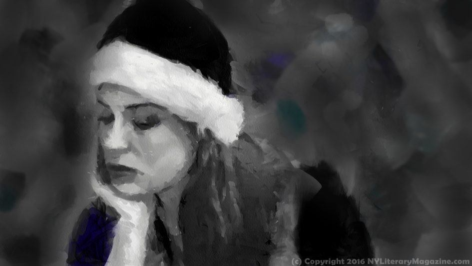 Lonely Christmas Girl Painting 2