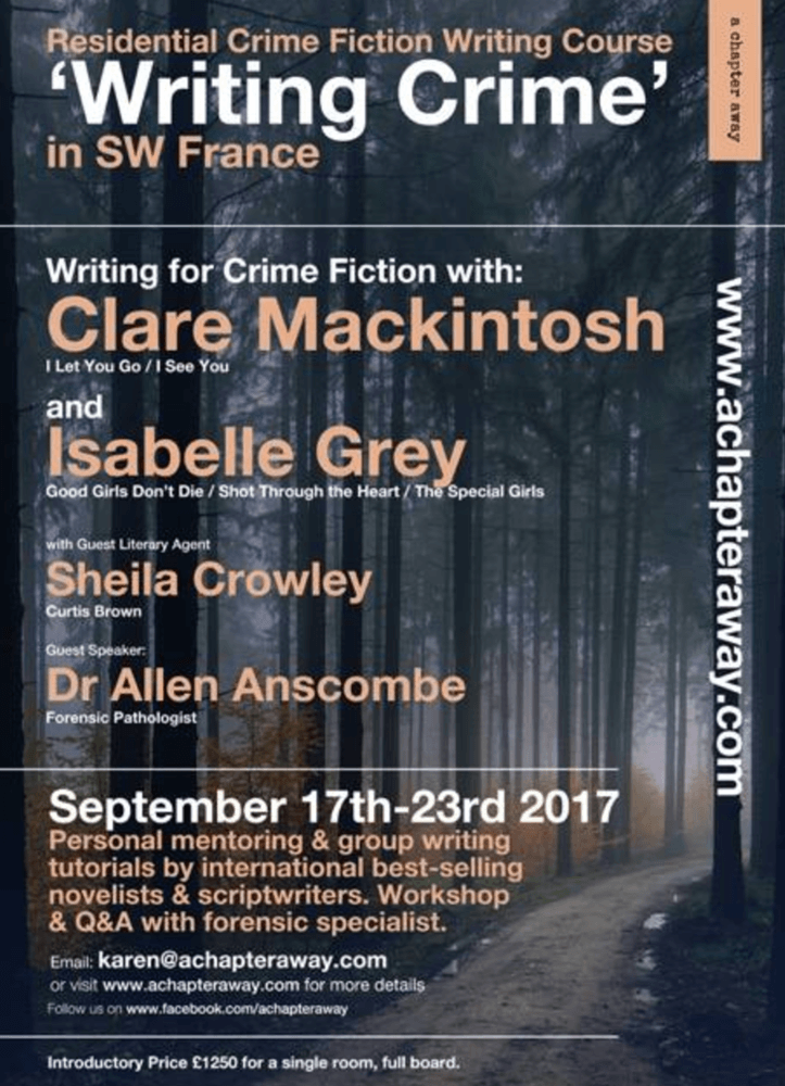 Writing Crime Retreat Poster, A Chapter Away