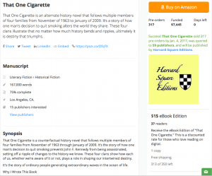 Book Crowdfunding Campaign Example, That One CIgarette