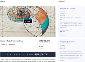book crowdfunding campaign example, golden ratio coloring book