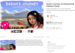 Book Crowdfunding Campaign Example, Sarah's Journey