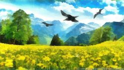 Meadow with Birds Nature Painting