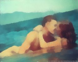Artwork of Couple Kissing in ocean