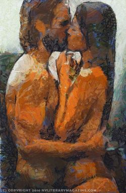 Sexy Couple Kissing Painting