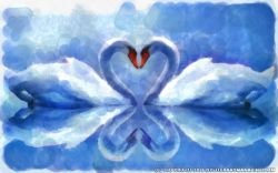 Painting of Two Swans in Love